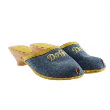 Drewniaki dziewczęce peep toe D&G 001964 - letnie obuwie dla dzieci
