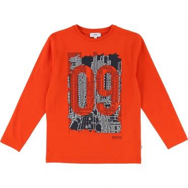 Pomarańczowa koszulka chłopięca Hugo Boss 002028