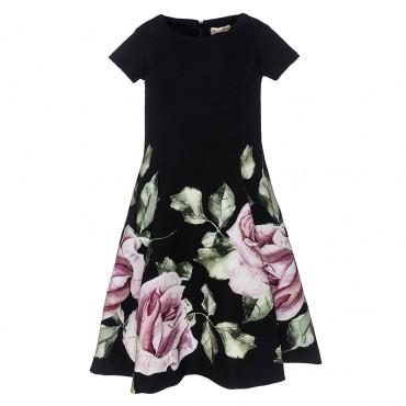 Sukienka czarna w kwiaty Monnalisa 002084 A