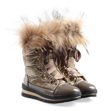 Dziewczęce buty z futrem Jog Dog 002290 a - zimowe buty dla dzieci