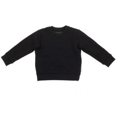 Czarna bluza z tłoczonymi logosami Armani 002299