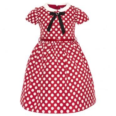 Sukienka w grochy z kokardą Monnalisa 002304 A