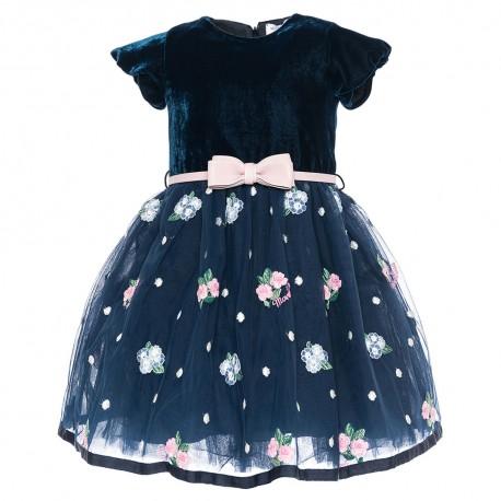 Granatowa sukienka z kokardą Monnalisa 002323 A