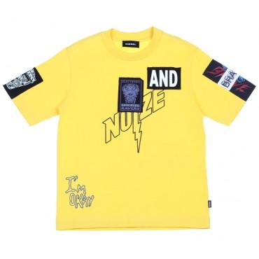 Żółty t-shirt chłopięcy z naszywkami Diesel 002459