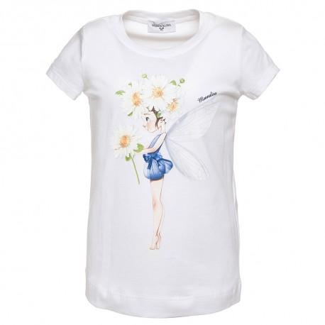 13476ded008c8a Koszulka biała z nadrukiem dziewczęca Monnalisa - ubrania dla dzieci ...