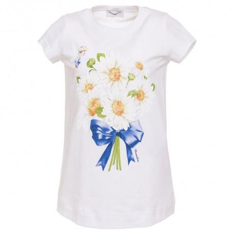 bc2ac56d5e086a Koszulka biała z nadrukiem dla dziewczynki Monnalisa - odzież ...