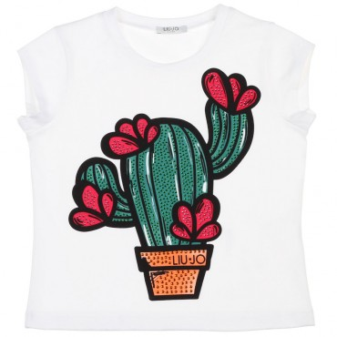 Dziewczęca koszulka z kaktusem Liu Jo 002486