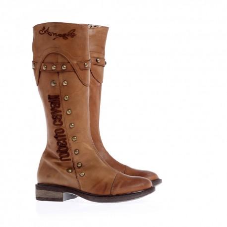 Brązowe kozaki dziewczęce Roberto Cavalli 302300  - markowe obuwie dla dzieci i młodziezy - sklap internetowy euroyoung.pl