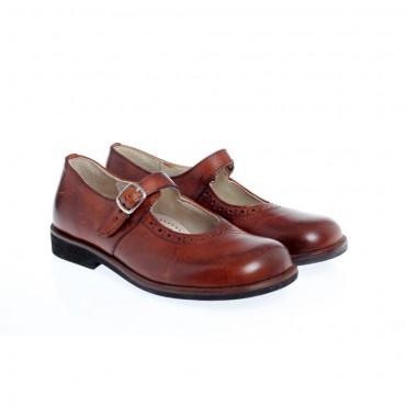 Brązowe pantofle dla dziewczynki GALLUCCI 1810 A - obuwie dla dzieci