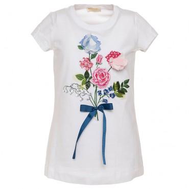 Biała koszulka dziewczęca kwiaty Monnalisa 002552