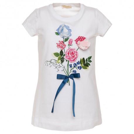 62105c87830748 Biała koszulka z nadrukiem Monnalisa - odzież dla dziewczynek ...