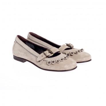Jasne, zamszowe baleriny dla dziewczynki GALLUCCI 2631 - włoskie  obuwie dla dzieci - sklep internetowy