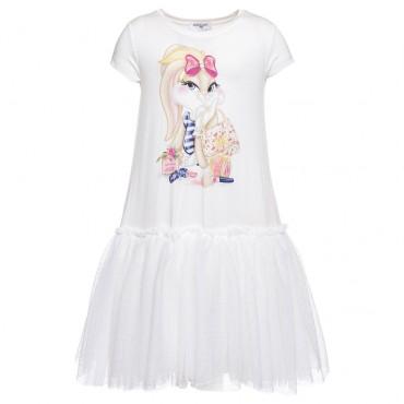 Sukienka dla dziewczynki Monnalisa - ekskluzywne ubranka dla dzieci.