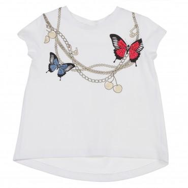 Biała koszulka dziewczęca motyle Liu Jo 002611