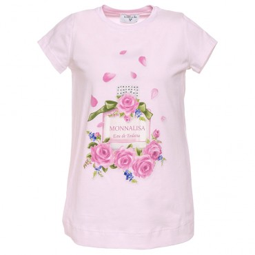 Różowa koszulka dziewczęca nadruk Monnalisa 002654