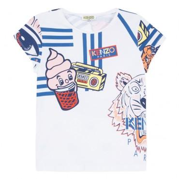 Koszulka dziewczęca z nadrukami Kenzo 002841