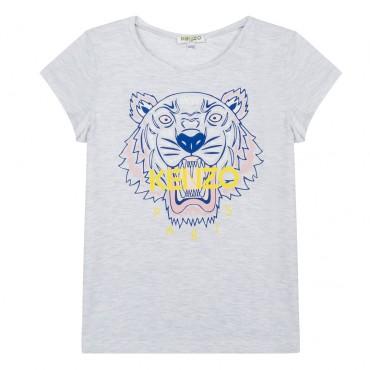 Szara koszulka dziewczęca z tygrysem Kenzo 002842