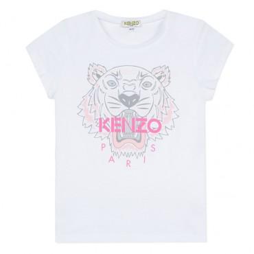Biała koszulka dziewczęca z tygrysem Kenzo 002844
