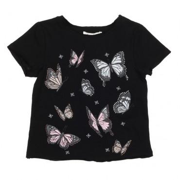 Czarna koszulka w motyle Twin Set 002872