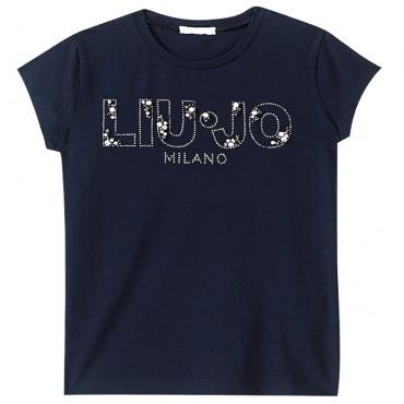 Granatowa koszulka dziewczęca basic Liu Jo 002882