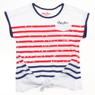 Dziewczęca koszulka w paski Pepe Jeans 002923