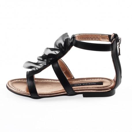 Czarne sandały dla dziewczyny Patrizia Pepe 002954 A - ekskluzywne obuwie dla dzieci