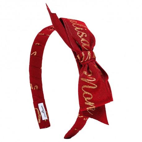 Czerwona opaska na włosy logo Monnalisa 002969 A