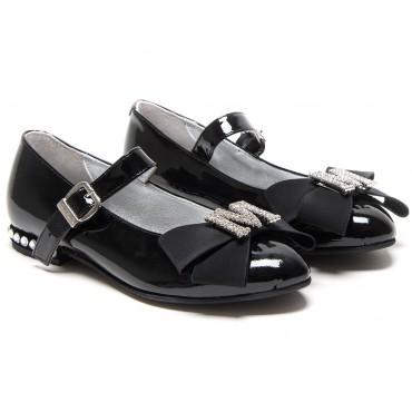 Czarne baleriny dla dziewczynki Monnalisa 002982 A - ekskluzywne buty dla dzieci
