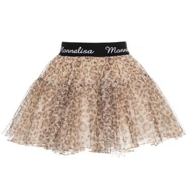 Tiulowa spódnica w panterkę Monnalisa 003017 A