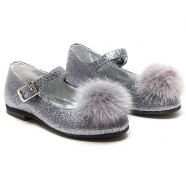 Buty dziewczęce srebrny brokat Monnalisa 003047 A - eleganckie obuwie dla dzieci