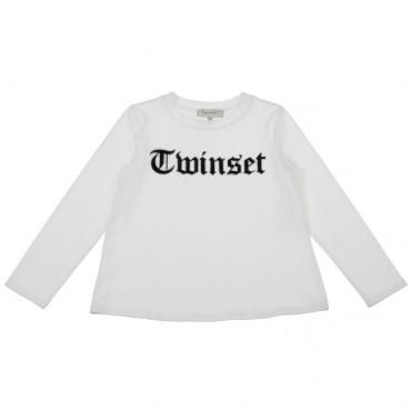 Biały t-shirt dziewczęcy z logo Twin Set 003092