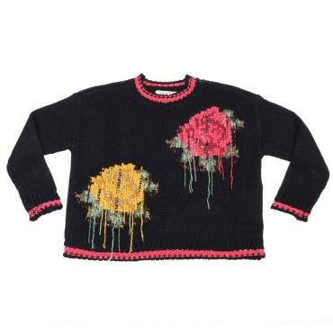 Gruby sweter dziewczęcy z kwiatami Twin Set 003094