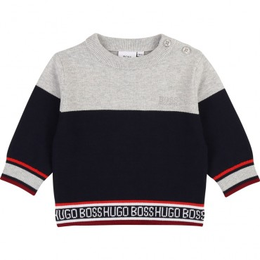 Dwukolorowy sweter niemowlęcy Hugo Boss 003110 A