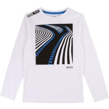 Koszulka chłopięca z nadrukiem Hugo Boss 003134 A