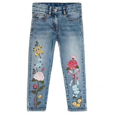 Jeansy dziewczęce z haftem Monnalisa 003163
