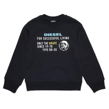 Czarna bluza chłopięca z nadrukiem Diesel 003192