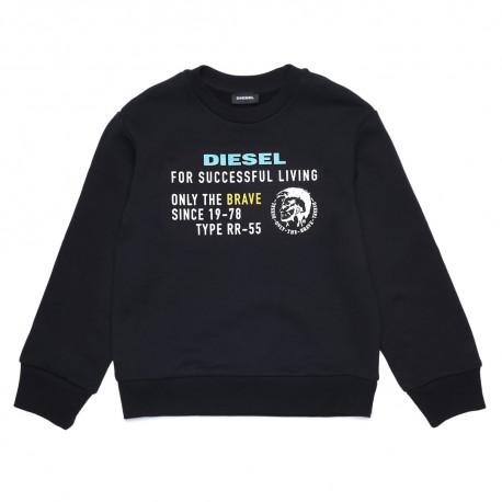 Czarna bluza chłopięca z nadrukiem Diesel 003192 A