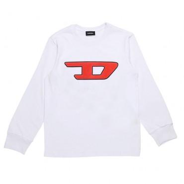 Biały t-shirt chłopięcy model basic Diesel 003194