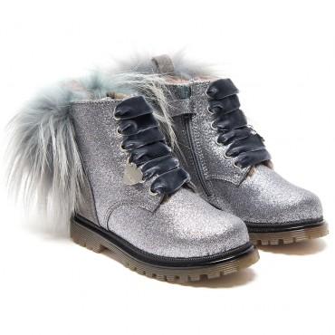 Brokatowe botki dla dziecka Monnalisa 003224 A - ekskluzywne obuwie dziewczęce