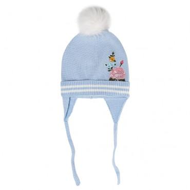 Niebieska czapka dziewczęca Monnalisa 003258 A