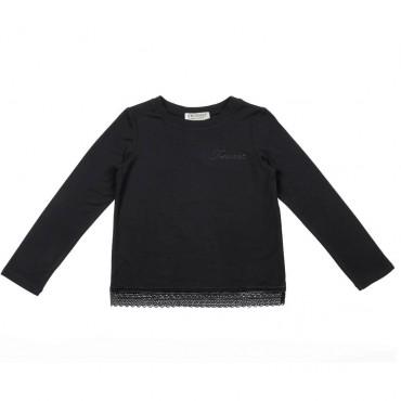 Czarny t-shirt dziecięcy z koronką Twin Set 003307