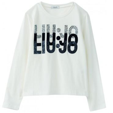 Jasny longsleeve dziewczęcy z logo Liu Jo 003343 A