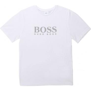 Biały t-shirt chłopięcy z logo Hugo Boss 003366