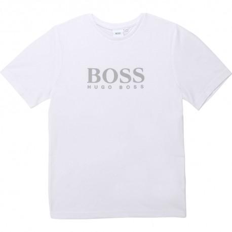 Biały t-shirt chłopięcy z logo Hugo Boss 003366 A