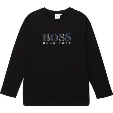 Czarny longsleeve dla chłopca Hugo Boss 003368