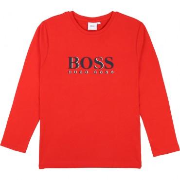 Czerwona koszulka dla chłopca Hugo Boss 003369