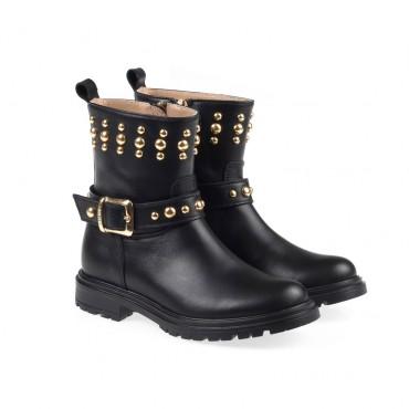 Skórzane botki dla dziewczynki Twin Set 003203 a - oryginalne buty dla dzieci