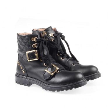 Sznurowane botki dziewczęce Twin Set 003202 A - ekskluzywne buty dla dzieci