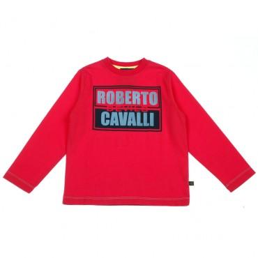Czerwona koszulka chłopięca Roberto Cavalli 003405 A