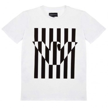 Biały t-shirt dla chłopca Emporio Armani 003439 A